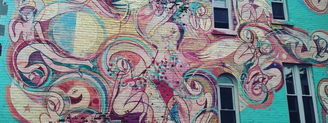 Wall mural on brick building
